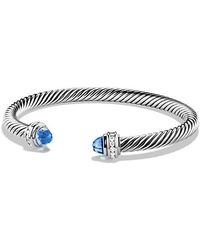 David Yurman - Cable Classics® Bracelet With Blue Topaz And Diamonds, 5mm - Lyst