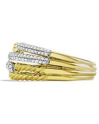 David Yurman - Labyrinth Double-loop Ring With Diamonds In 18k Gold - Lyst