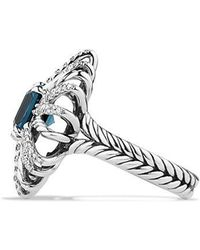 David Yurman - Starburst Ring With Diamonds And Hampton Blue Topaz In Silver, 23mm - Lyst
