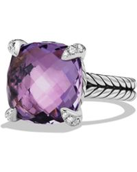 David Yurman - Châtelaine Ring With Amethyst And Diamonds, 14mm - Lyst