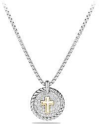 David Yurman - Petite Pave Cross Charm Necklace With Diamonds With 18k Gold - Lyst