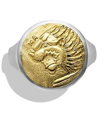 David Yurman - Petrvs Lion Signet Ring With 18k Gold - Lyst