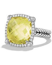 David Yurman - Chatelaine Pave Bezel Ring With Lemon Citrine And Diamonds, 14mm - Lyst