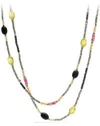 David Yurman - Dy Signature Necklace With Pyrite, Pink Tourmaline And Lemon Citrine In 18k Gold - Lyst