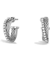 David Yurman - Crossover Extra-small Hoop Earrings With Diamonds - Lyst