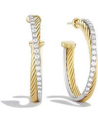 David Yurman - Crossover Medium Hoop Earrings With Diamonds In 18k Gold - Lyst