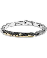 David Yurman - Pave Id Bracelet With 18k Gold And Black Diamonds - Lyst
