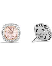 David Yurman - Albion Earrings With Morganite, Diamonds And 18k Rose Gold, 7mm - Lyst
