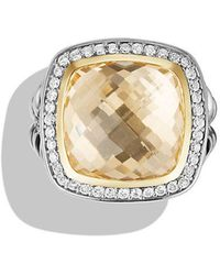 David Yurman - Albion® Ring With Champagne Citrine And Diamonds With 18k Gold, 14mm - Lyst