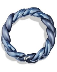 David Yurman - Belmont Curb Link Bracelet In Titanium With An Accent Of 18k White Gold - Lyst