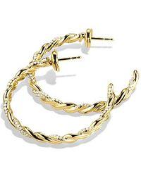 David Yurman - Wisteria Hoop Earrings With Diamonds In 18k Gold - Lyst