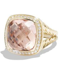 David Yurman | Albion® Ring With Morganite And Diamonds In 18k Gold, 14mm | Lyst