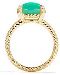 David Yurman - Chatelaine Ring With Chrysoprase And Diamonds In 18k Gold - Lyst