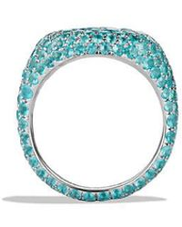David Yurman | Pavé Pinky Ring With Paraiba Tourmaline In 18k White Gold | Lyst