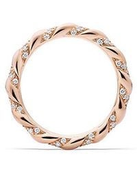 David Yurman - Dy Unity Wedding Band With Diamonds In 18k Rose Gold, 2.6mm - Lyst