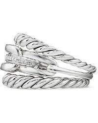 David Yurman | Wellesley Linktm Three-row Ring With Diamonds | Lyst