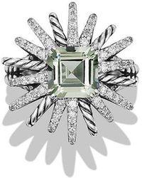 David Yurman - Starburst Ring With Diamonds And Prasiolite In Silver, 23mm - Lyst
