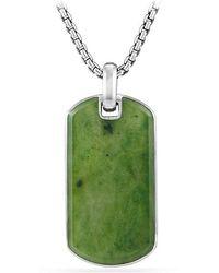 David Yurman - Exotic Stone Tag In Nephrite Jade, 42mm - Lyst
