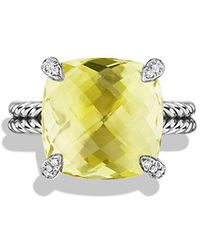 David Yurman | Châtelaine Ring With Lemon Citrine And Diamonds, 14mm | Lyst