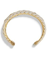 David Yurman - Stax Five Row Cuff Bracelet With Diamonds In 18k Gold, 35mm - Lyst