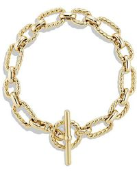 David Yurman | Cushion Link Bracelet With Diamonds In 18k Gold | Lyst