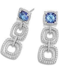 David Yurman - Châtelaine Pave Bezel Triple Drop Earring With Tanzanite And Diamonds In 18k White Gold - Lyst