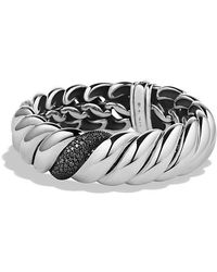 David Yurman | Hampton Cable Narrow Bracelet With Black Diamonds | Lyst