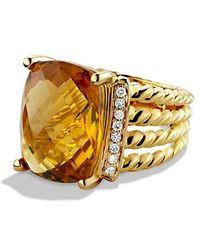 David Yurman - Wheaton Ring With Citrine And Diamonds In 18k Gold - Lyst