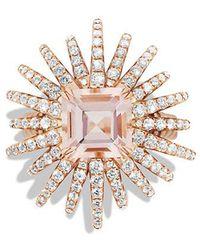 David Yurman - Starburst Ring With Diamonds And Morganite In 18k Rose Gold, 25mm - Lyst