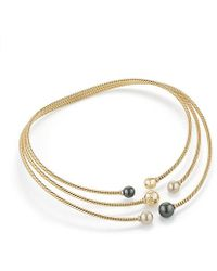 David Yurman - Solari Three-row Necklace With South Sea White Pearl, Tahitian Grey Pearl And Diamonds In 18k Gold - Lyst