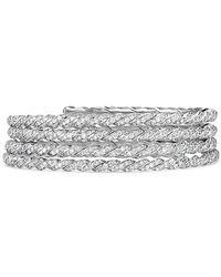 David Yurman | Paveflex Coil Bracelet With Diamonds In 18k White Gold | Lyst