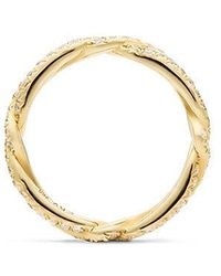 David Yurman | Dy Wisteria Wedding Band With Diamonds In 18k Gold, 3mm | Lyst