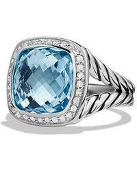 David Yurman - Albion® Ring With Blue Topaz And Diamonds, 11mm - Lyst
