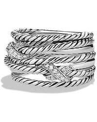 David Yurman - Double X Crossover Ring With Diamonds - Lyst