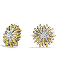 David Yurman - Starburst Earrings With Diamonds In 18k Gold, 22mm - Lyst