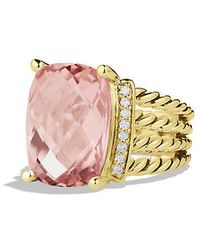 David Yurman - Wheaton Ring With Morganite And Diamonds In 18k Gold - Lyst