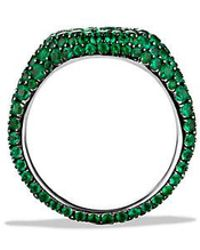 David Yurman - Petite Pavé Pinky Ring With Emeralds In 18k White Gold - Lyst