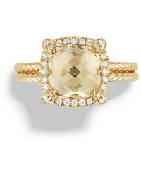 David Yurman | Châtelaine Pavé Bezel Ring With Champagne Citrine And Diamonds In 18k Gold | Lyst