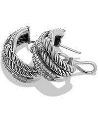 David Yurman - Labyrinth Double-loop Earrings With Diamonds - Lyst