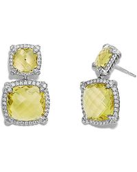 David Yurman - Châtelaine® Pave Bezel Double Drop Earring With Lemon Citrine And Diamonds - Lyst