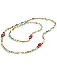 David Yurman - Dy Signature Bead Necklace With Turquoise And Carnelian In 18k Gold - Lyst
