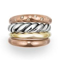 David Yurman - Pure Form® Mixed Metal Four-row Ring With Diamonds, Bronze And Silver, 17.5mm - Lyst