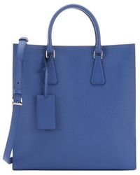 Prada Light Blue Saffiano Leather Convertible Top Handle Unisex Tote - Lyst