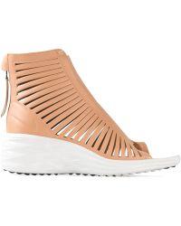 Nike Lunarsandiator Leather Wedge Sandals - Natural
