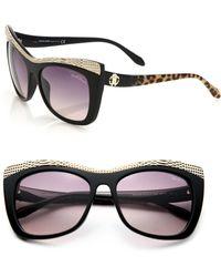 Roberto Cavalli Scale-Studded 56Mm Square Sunglasses - Lyst