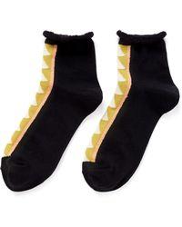 Hansel From Basel Triangle Stripe Anklet Socks black - Lyst