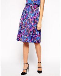 Oasis Blurred Floral Midi Skirt - Lyst