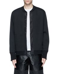 T By Alexander Wang Contrast Collar Cotton Blend Bomber Jacket - Lyst