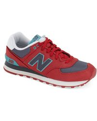 New Balance | red 574 Winter Harbor Suede Low-Top Sneakers | Lyst