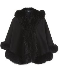 Harrods of London Raccoon Trim Hooded Cashmere Cape - Lyst